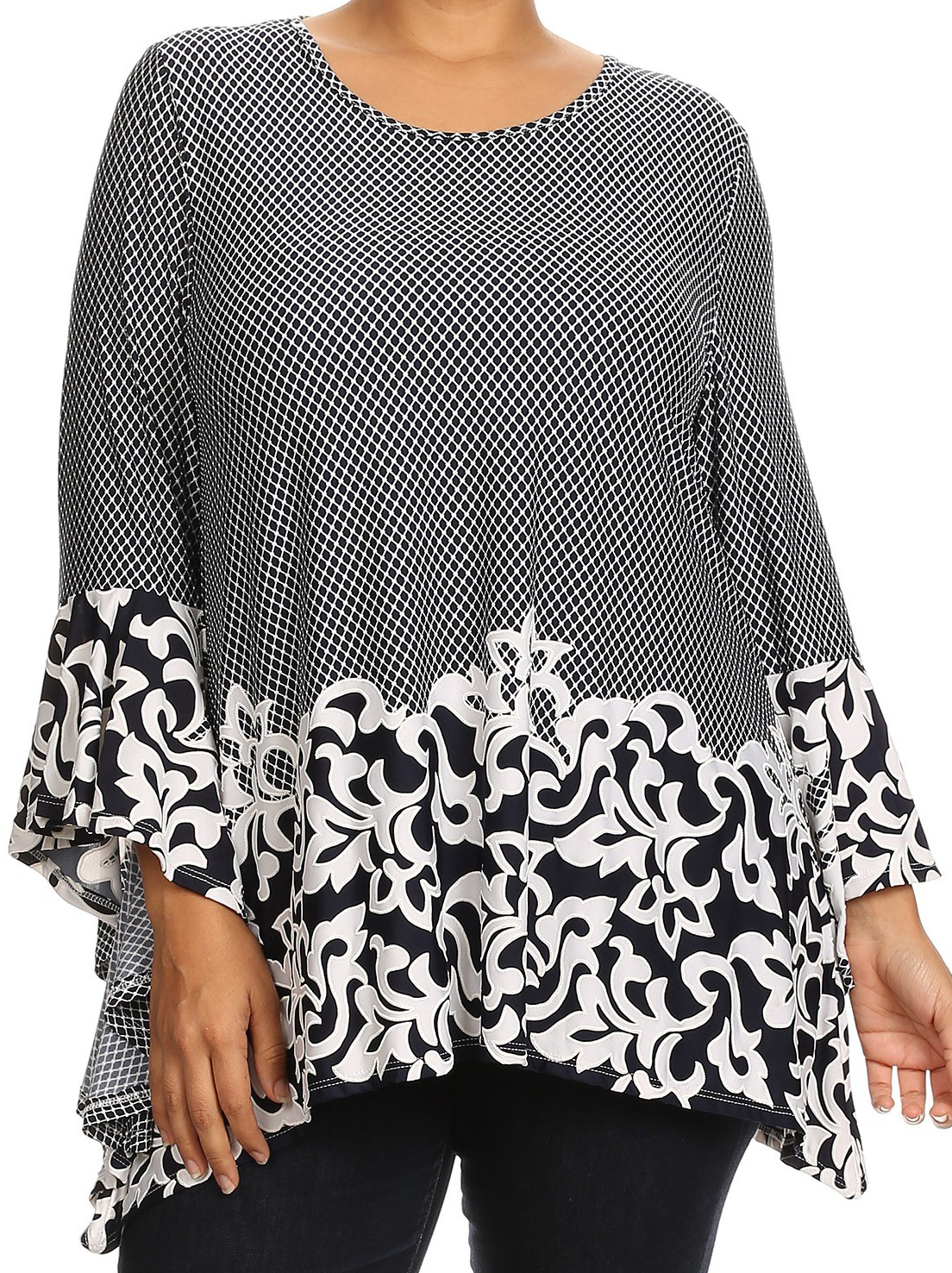 Women Plus Size Abstract Print Kimono Sleeves Tunic Knit Top Tee Shirt Navy Abstract XL B461