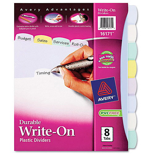 Avery Translucent Durable Multicolor Write-On Dividers, Eight-Tab, Letter, 1 Set
