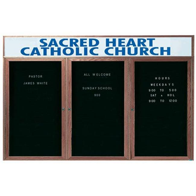 Aarco Products WDC3672-3H 3-Door Enclosed Changeable Letter Board with Header - Walnut