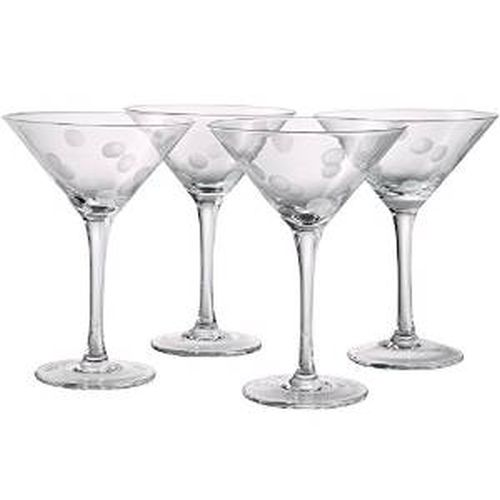Artland Polka Dot Martini 7 oz. Clear, S/4
