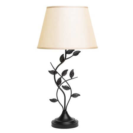 Besa Lamp - Best Choice Products 30in Transitional Style Table Lamp w/ Leaf Design, Beige Lamp Shade - Matte Black