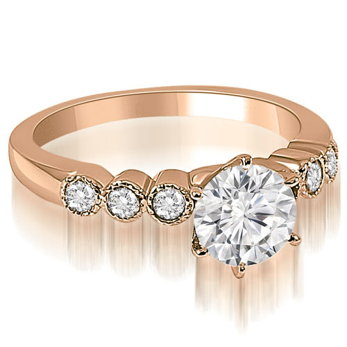 1.20 CT.TW Vintage Style Milgrain Round Diamond Engagement Ring in 14K White, Yellow Or Rose Gold