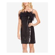 VINCE CAMUTO Womens Black Feather Detail Sequin Spaghetti Strap Square Neck Above The Knee Party Dress  Size: 14
