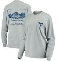 West Virginia Mountaineers Lauren James Women's Stadium Oversized Long Sleeve Pocket T-Shirt - Heathered Gray