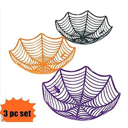 Fun Express Plastic Spider Web Spiderweb Halloween Candy Bowls - 3 Piece Set](Skull Halloween Punch Bowl Set)