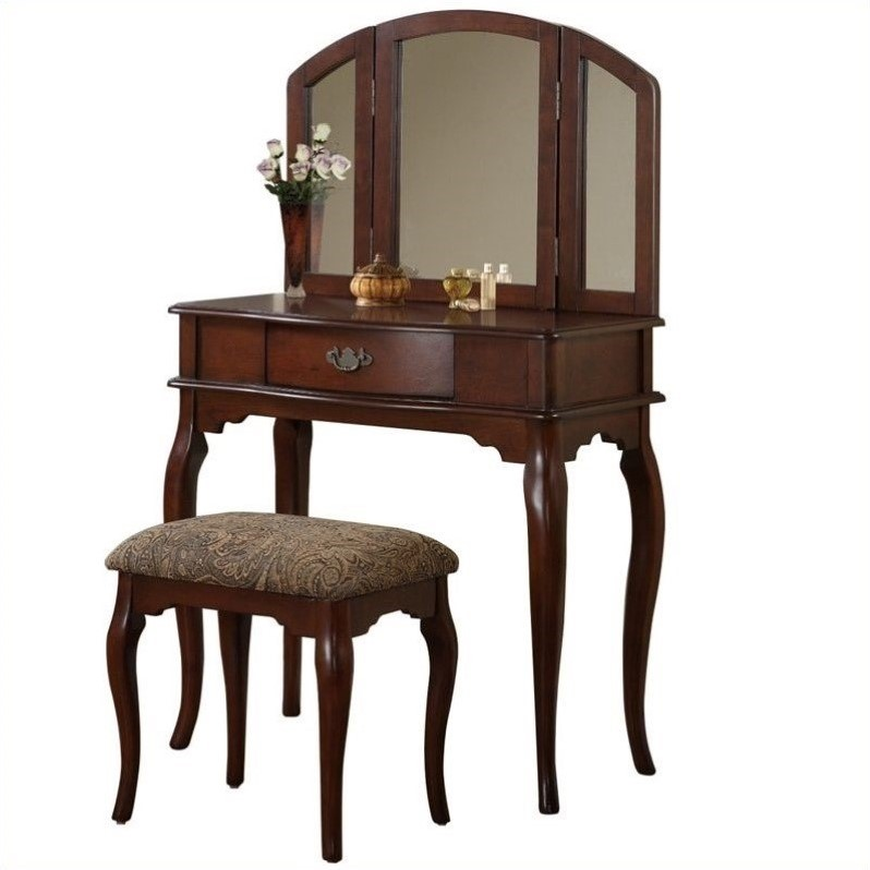 Bobkona Jaden 3 fold Mirror Vantiy Table with Stool Set in Cherry