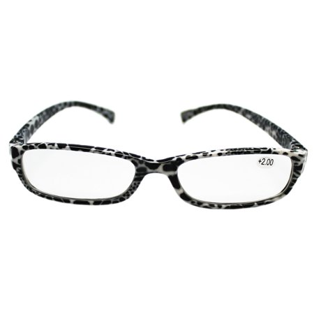Snow Leopard White and Black Pattern Thick Frame Reading Glasses (Leopard Frame Glasses)