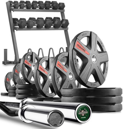 XMark POWERHOUSE III Includes Rack, 380 lbs. of Dumbbells, Curl Bar, Lumberjack 7' Olympic Bar PLUS 365 lbs. of TEXAS STAR Olympic Weight
