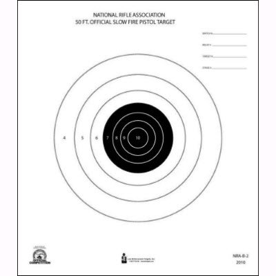 10 Pcs of Official NRA 50-Foot Slow Fire Pistol Target (B-2) Printed on Heavy NRA official