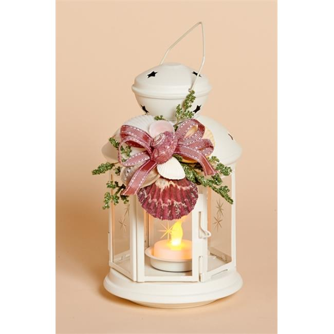 Harvest of Barnstable PMWL 8 inch White Lantern With Pink Shell Collar And Battery Tea Light