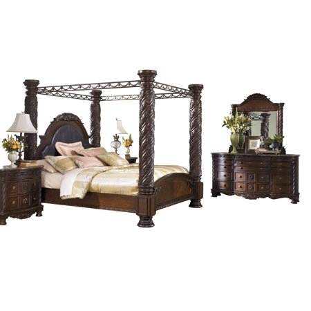 Ashley Furniture North S 5 Pc Bedroom Set Cal King Poster Canopy Bed Dresser Mirror 2 Nightstand Dark Brown