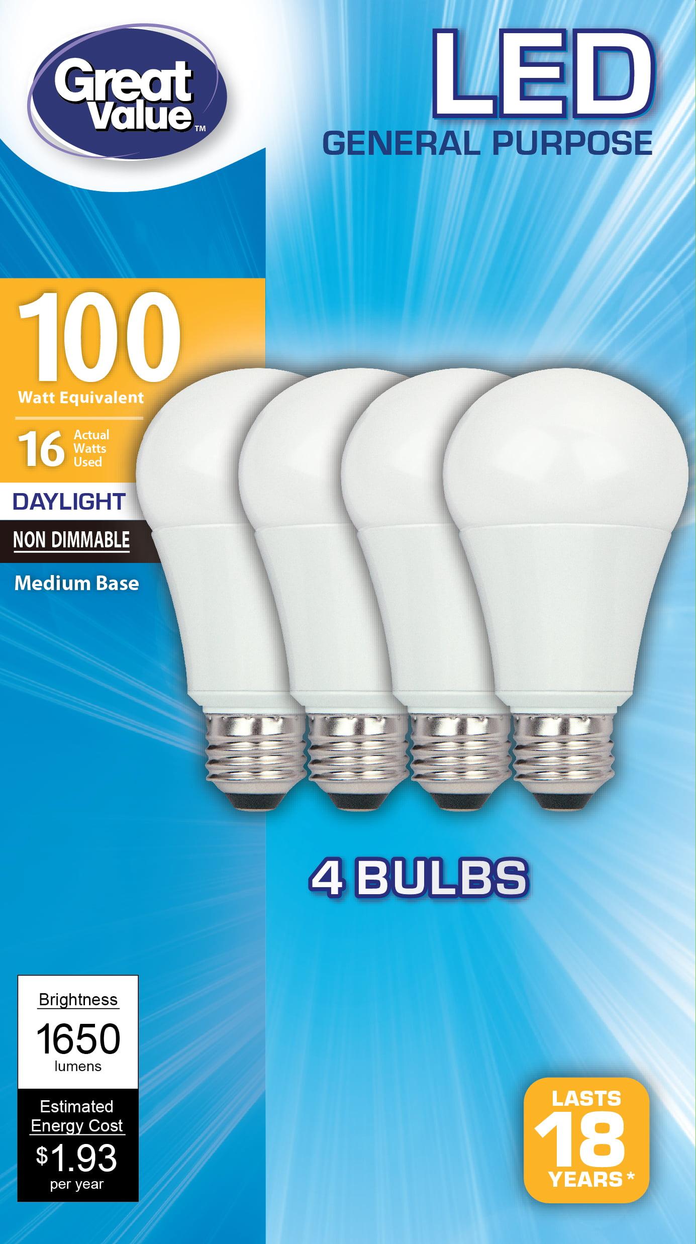 Led Light Bulb Daylight: Great Value LED A19 (E26) Light Bulbs, 16W (100W