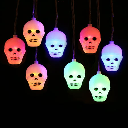 HDE Halloween Lights LED Skull Lights Battery Operated String Lights with 10 Multi-Colored Light Up Skulls (Multicolored, 8ft Length) - Halloween Led Skull Candelabra Prop