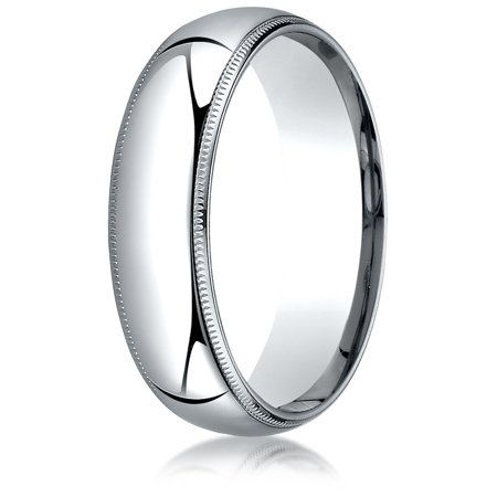 Palladium 6mm Slightly Domed Standard Comfort-fit Ring with Milgrain