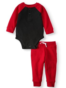 Garanimals Baby Boy Long Sleeve Thermal Henley Bodysuit & Joggers, 2pc Outfit Set