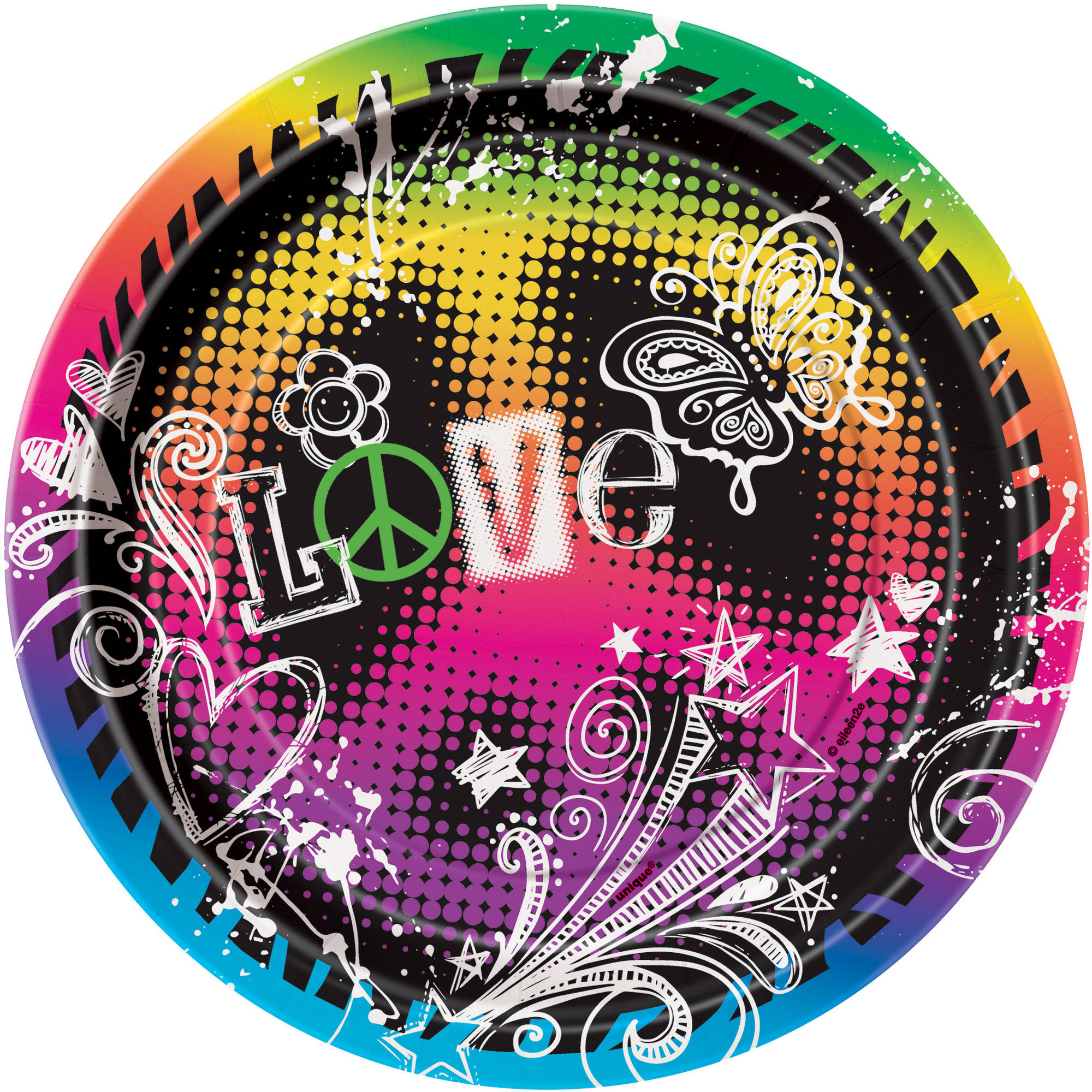 "7"" Peace Girls Party Plates, 8-Count"