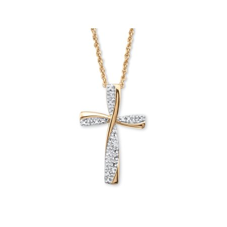 Diamond Accent Two-Tone Cross Pendant Necklace in 18k Gold over Sterling Silver  18