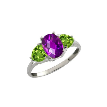 1.96 Ct Checkerboard Purple Amethyst and Green Peridot Sterling Silver Ring
