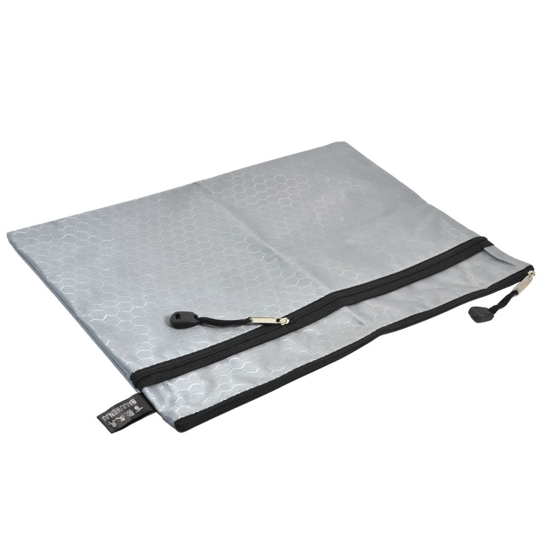 Unique Bargains Gray Nylon Football Pattern 2 Slots A4 Paper Document Files Zipper Bag Holder
