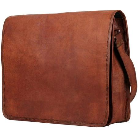 """Crafat 15"""" Mens Genuine Vintage Brown Leather Messenger Bag Shoulder Satchel School Laptop Bag Briefcase Bag - image 2 de 5"""