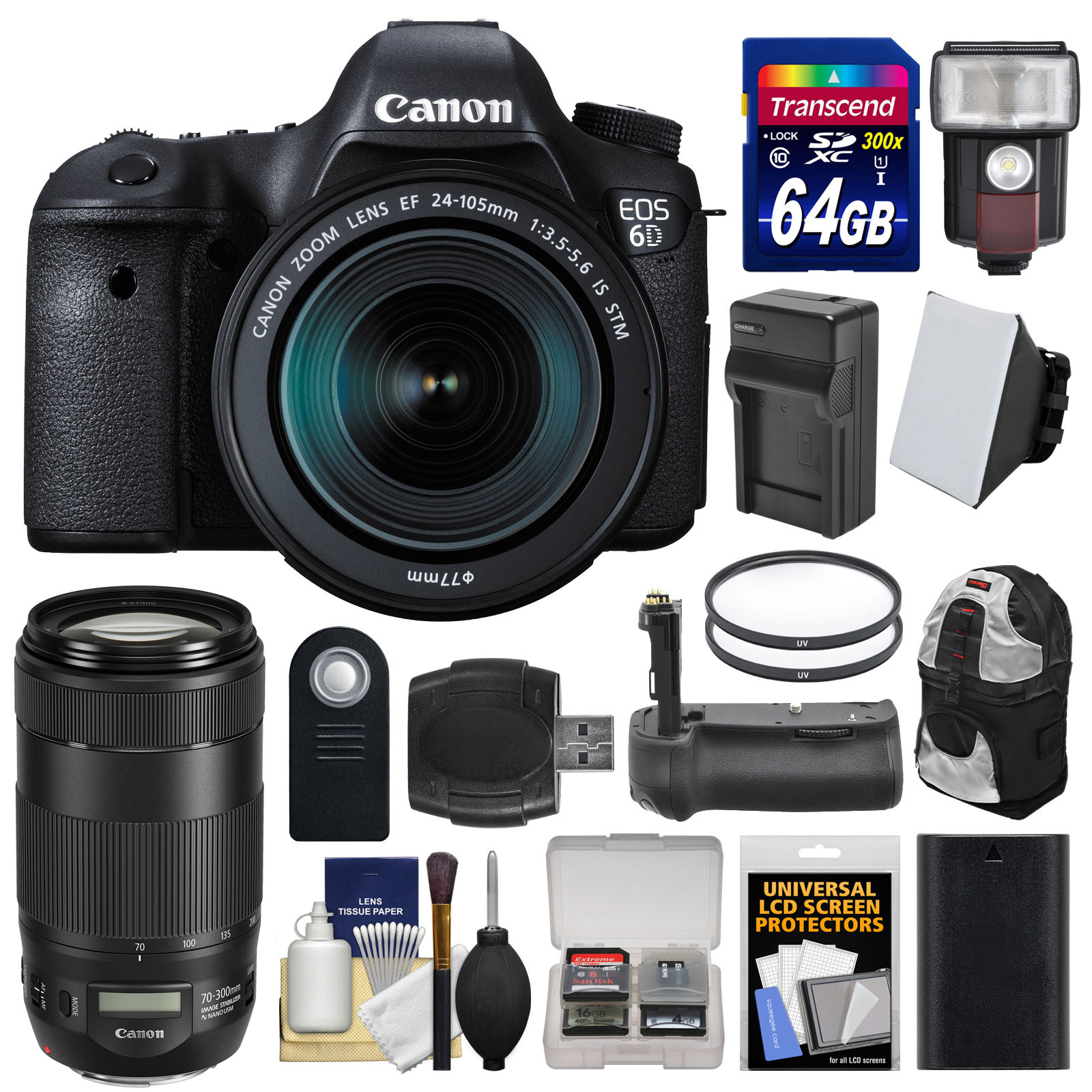 Canon EOS 6D Digital SLR Camera Body + EF 24-105mm IS STM & 70-300mm IS II USM Lens + 64GB Card + Backpack + Flash +... by Canon