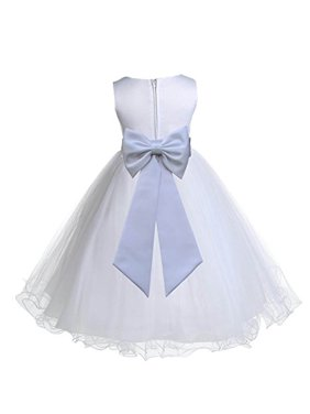 a3f4eb7bba0 Product Image Ekidsbridal White Tulle Rattail Edge Flower Girl Dresses  Pageant Dress Ballroom Gown Junior Bridesmaid Dress Birthday