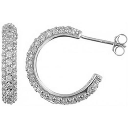 Doma Jewellery DJS02319 Sterling Silver (Rhodium Plated) Hoop Earring with CZ