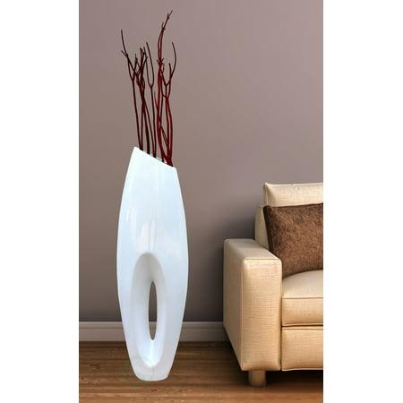 Modern White Large Floor Vase - 40 Inch ()