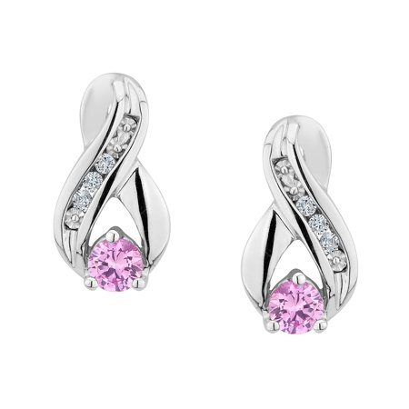 Created Pink Sapphire Infinity Earrings with Diamonds 1/5 Carat (ctw) in Sterling Silver - image 1 de 1