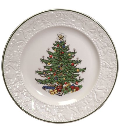 Cuthbertson Original Christmas Tree 11.25'' Dickens Embossed Round Dinner  Plate - Cuthbertson Original Christmas Tree 11.25'' Dickens Embossed Round