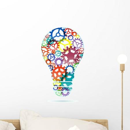 Abstract Lightbulb from Gears Wall Decal Sticker, Wallmonkeys Peel & Stick Vinyl Graphic (18 in H x 10 in (Gea Wall)