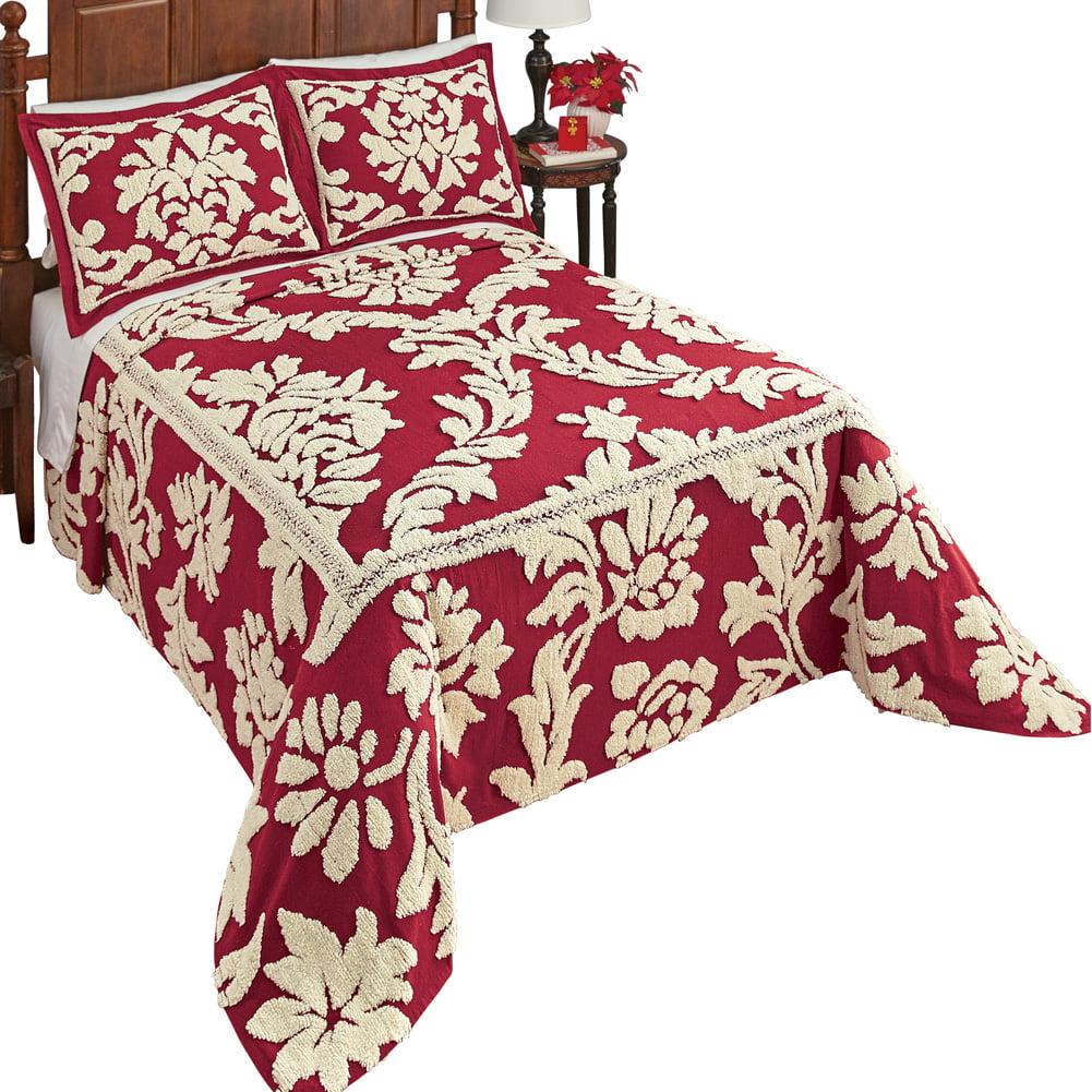 Nadia Floral Scroll Leaf Chenille Bedspread - Elegant Burgundy Background with Cream Tufts, Queen, Burgundy