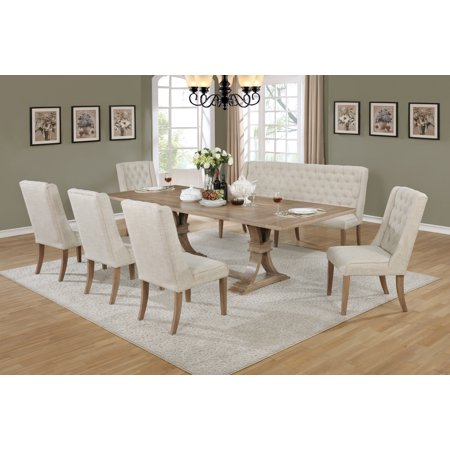 Best Quality Furniture Clasic Style 7pc Dining Set with bench (Best Quality Furniture For The Price)