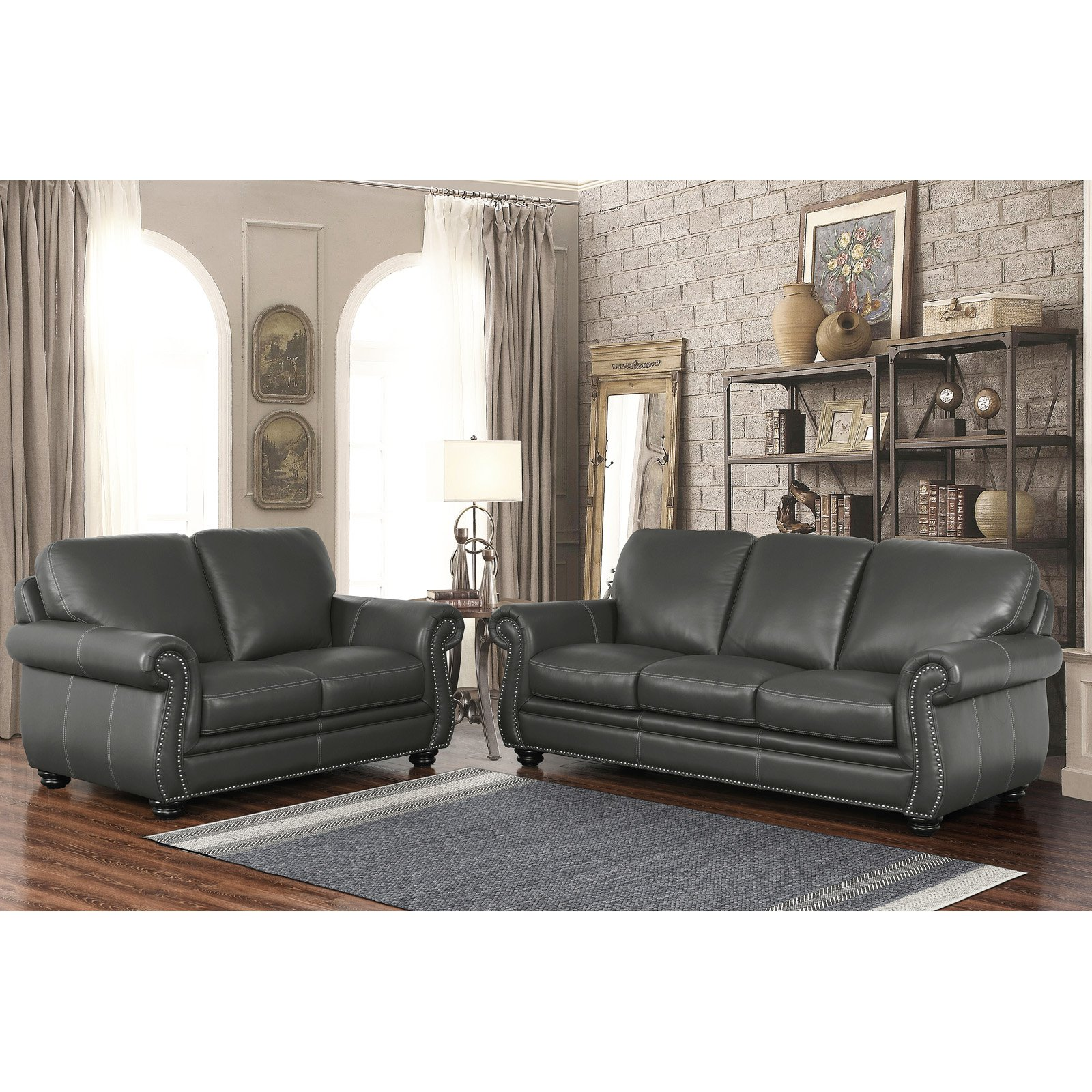 Abbyson Dasher Grey Top Grain Leather Sofa And Loveseat Set