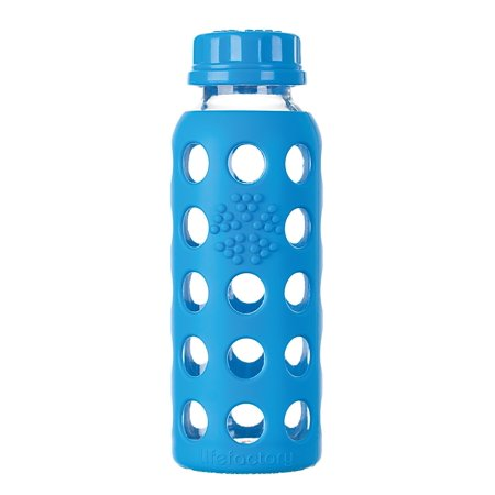 Lifefactory Glass Bottle with Flat Cap and Protective Silicone Sleeve, Ocean Blue, 9 Oz