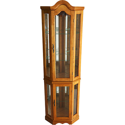Corner Lighted Curio Cabinet, Golden Oak (Box 1 of 2) by Southern Enterprises