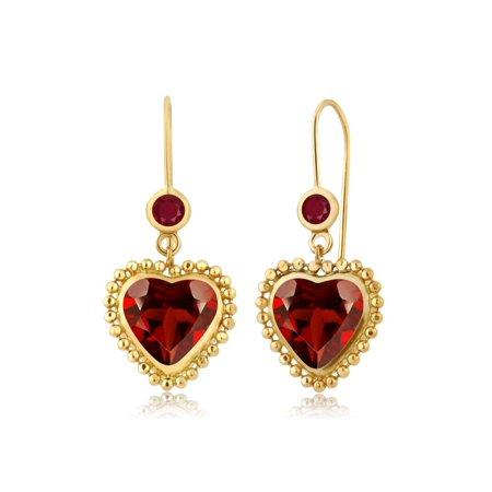 4.28 Ct Heart Shape Red Garnet Red Ruby 14K Yellow Gold Earrings
