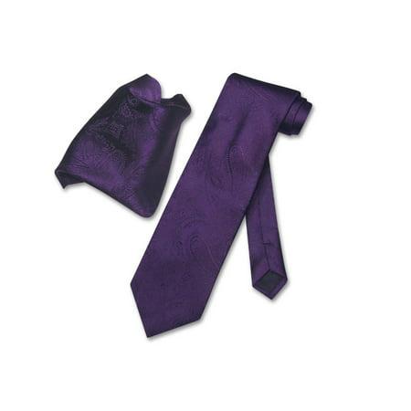 - Vesuvio Napoli Dark Purple PAISLEY NeckTie Handkerchief Matching Neck Tie Set