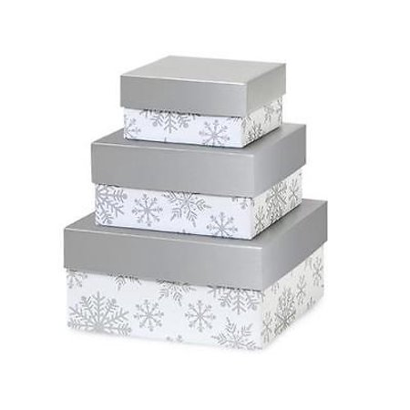 2 Unit Silver Snowflakes Nested Boxes Small 3 Piece Square Unit pack - 1 Nest Box