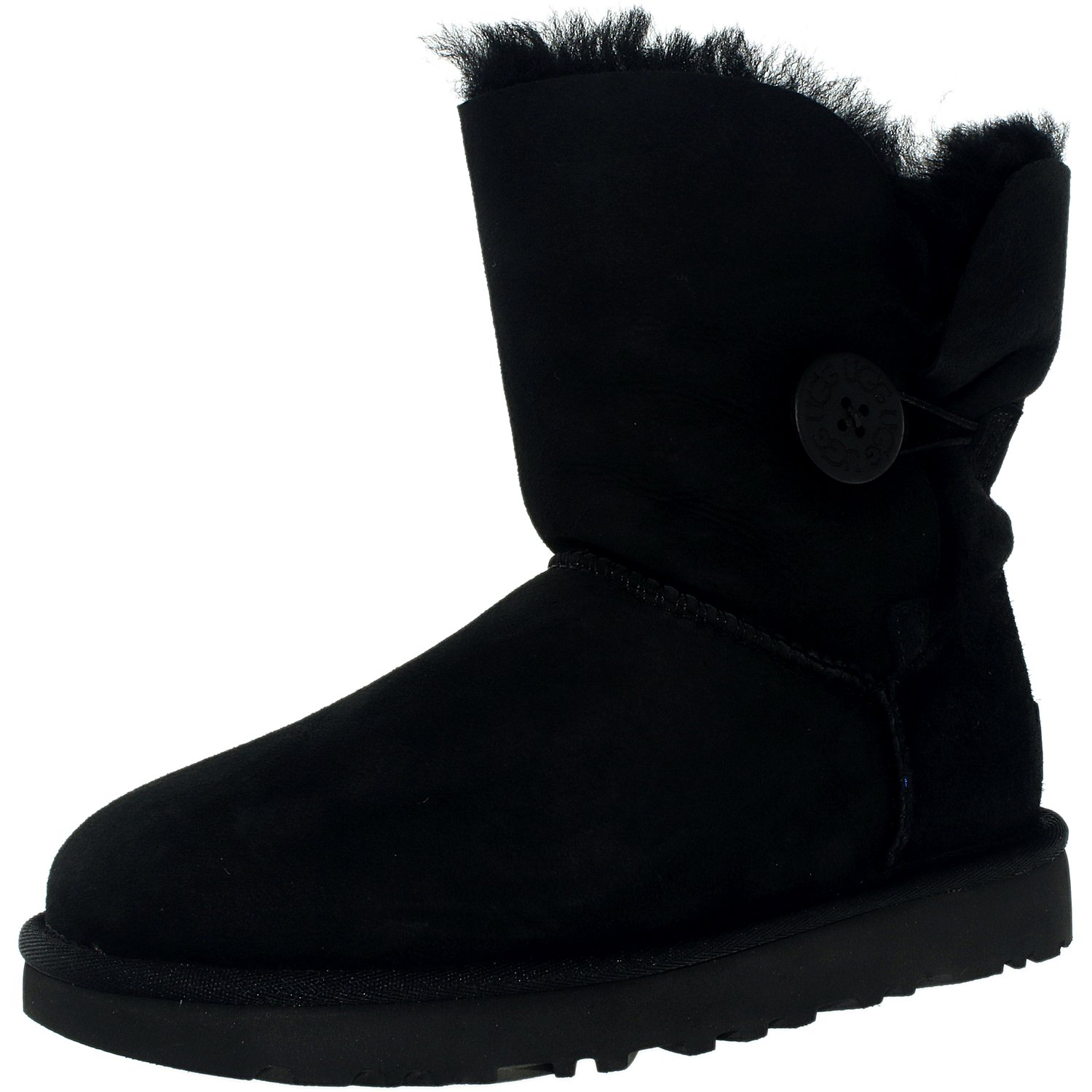 Ugg Women's Bailey Button II Black High-Top Sheepskin Boo...