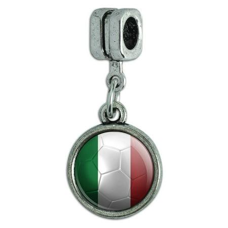 Italy Flag Soccer Ball Futbol Football Italian European Style Bracelet Charm Bead