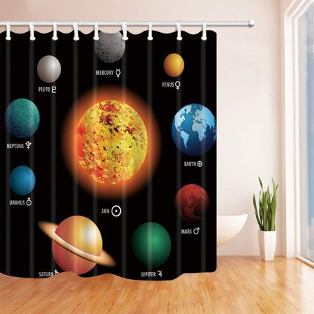 BPBOP Solar System Orbit the Sun with Names Of Planets Geography Kids Polyester Fabric Bathroom Shower Curtain 66x72