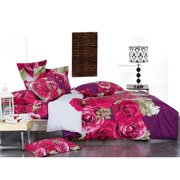 Le Vele LE234Q Full Queen Bed Modern Bedding Floral Duvet Cover Set, Wish