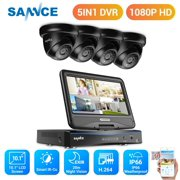 """SANNCE 10""""1 LCD Monitor 4in1 4CH DVR 1080P CCTV Weather Indoor/Outdoor Security Dome Camera System with 2T Hard Drive Disk"""