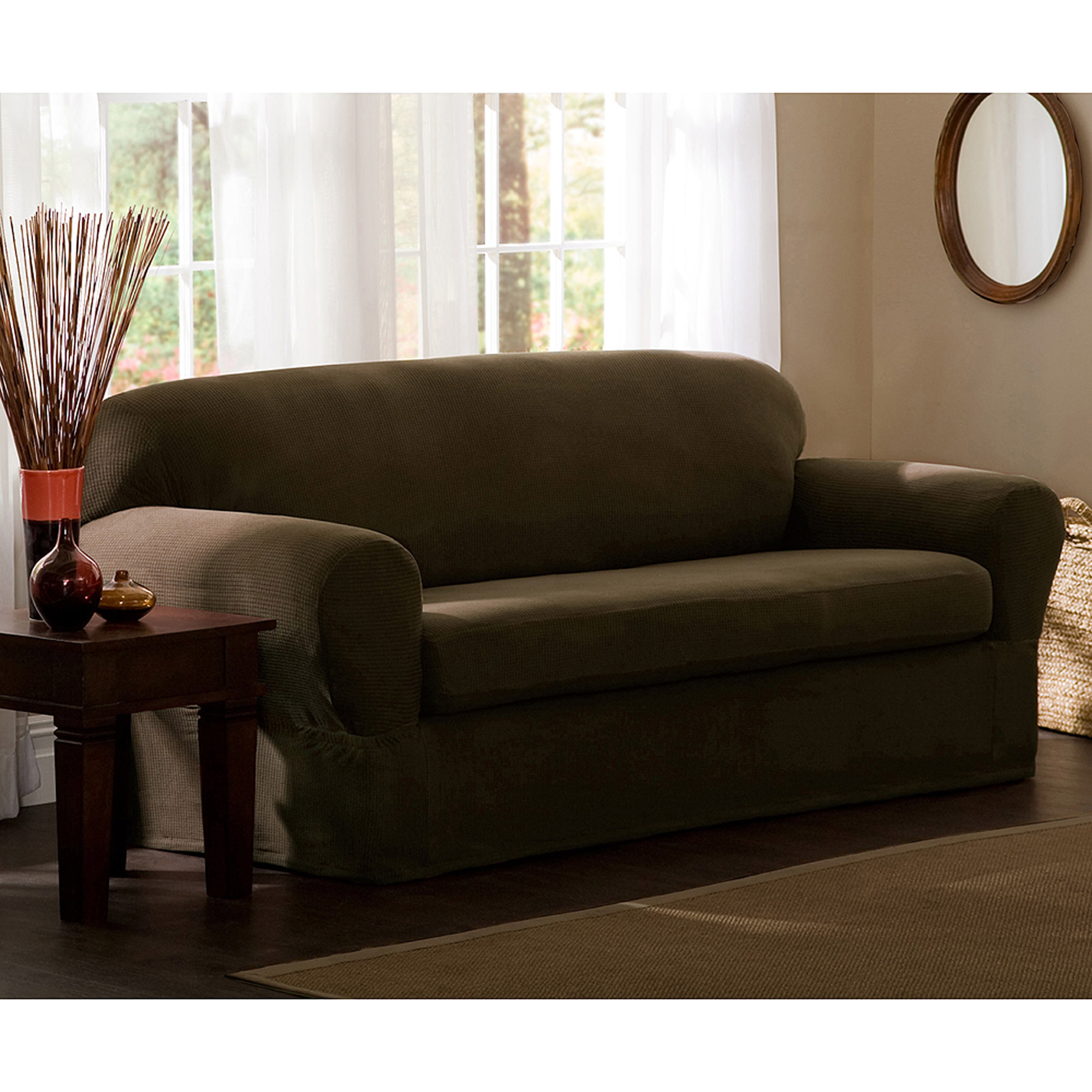 Maytex Stretch Reeves 2 Piece Loveseat Furniture Cover Slipcover