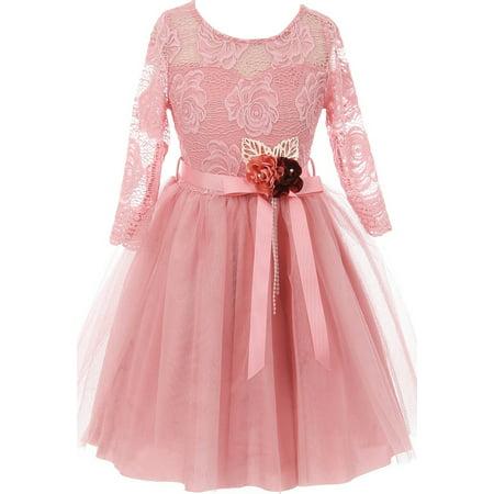 Little Girls Long Sleeve Girls Dress Floral Lace Roses Corsage Christmas Flower Girl Dress Rose 4 (J20KS98)
