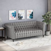 Edgar Traditional Chesterfield Sofa with Tufted Cushions, Gray and Black