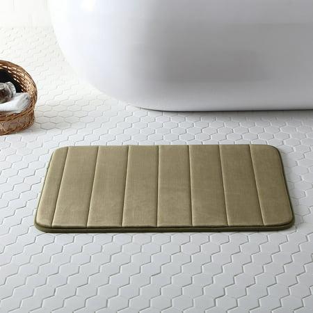 Hudson Essex Striped Memory Foam Bath Mat, Olive, 20x30 Inches