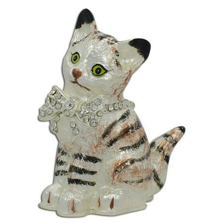 BestPysanky Maine Coon Cat with a Crystal Bow Jewelry Trinket Box Figurine Crystal Purple Trinket Box