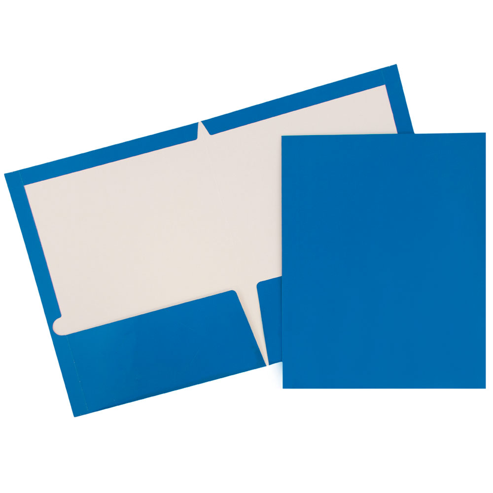 JAM Paper Glossy Two Pocket Presentation Folder, Royal Blue, 100/pack